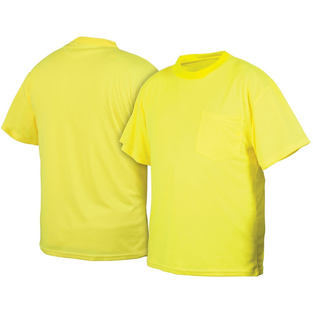 Pyramex Non-ANSI Hi Vis Lime Short Sleeve T-Shirt RTS2110NS Front/Back