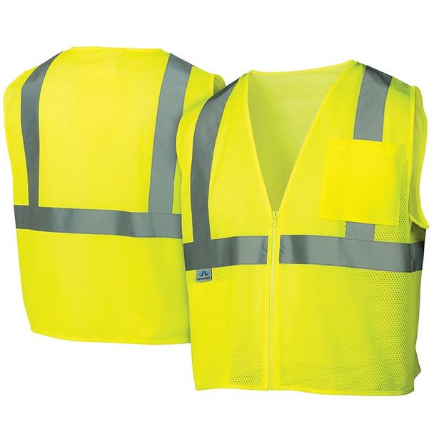 Pyramex Class 2 Hi Vis Lime Safety Vests RVZ2110 Front/Back