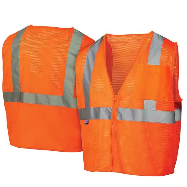 Pyramex Class 2 Hi Vis Orange Safety Vests RVZ2120 Front/Back