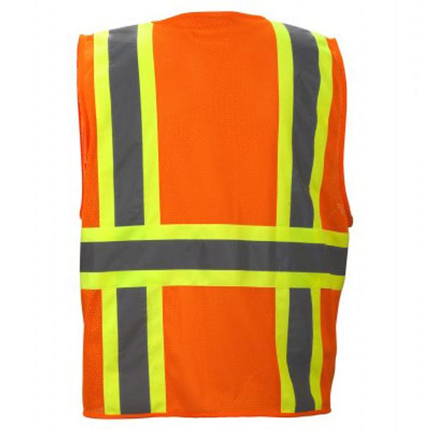 Pyramex Class 2 Hi Vis Economy Two-Tone Mesh Safety Vests RVZ2320 Orange Back
