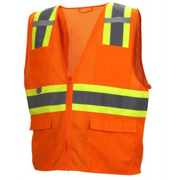 Pyramex Class 2 Hi Vis Economy Two-Tone Mesh Safety Vests RVZ2320 Orange Front
