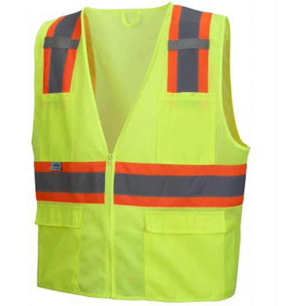 Pyramex Class 2 Hi Vis Economy Two-Tone Mesh Safety Vests RVZ2310 Lime Front
