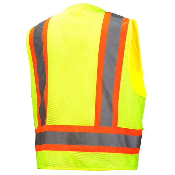 Pyramex Class 2 Hi Vis Lime Two-Toned Lime Safety Vests RVZ2410 Back