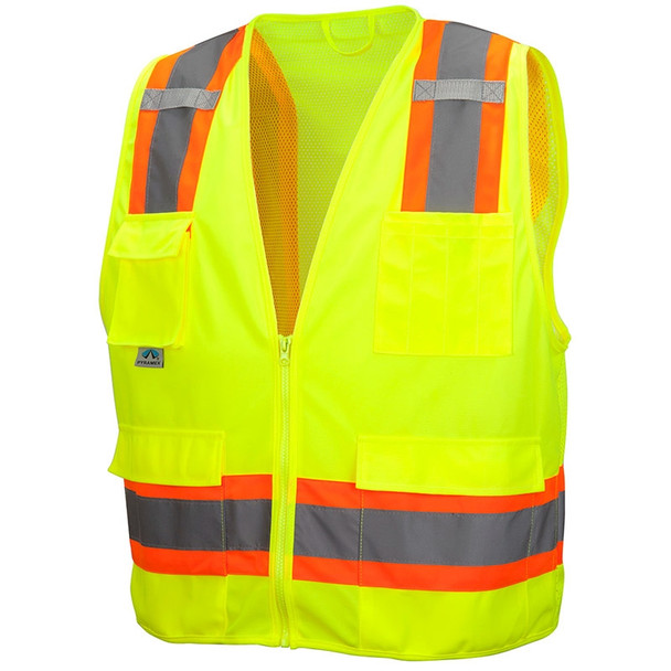 Pyramex Class 2 Hi Vis Lime Two-Toned Lime Safety Vests RVZ2410 Front