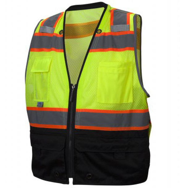 Pyramex Class 2 Hi Vis Black Bottom Surveyors Vest with iPad Pockets RVZ4410 Front