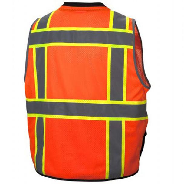 Pyramex Class 2 Hi Vis Black Bottom Surveyors Vest with iPad Pockets RVZ4420 Back