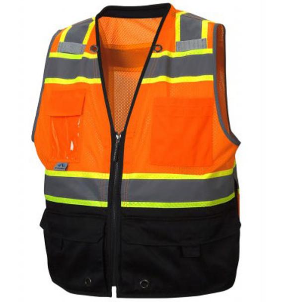 Pyramex Class 2 Hi Vis Black Bottom Surveyors Vest with iPad Pockets RVZ4420 Front