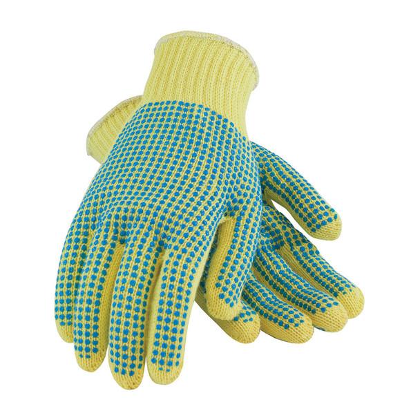 PIP Box of 72 Pair A3 Hi Vis Kut-Gard Seamless Knit Kevlar Dot Grip Safety Gloves 08-K300PDD Top