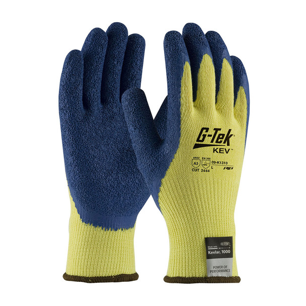 PIP Box of 72 Pair A3 Cut Level Hi Vis Yellow G-Tek Seamless Kevlar Gloves 09-K1310