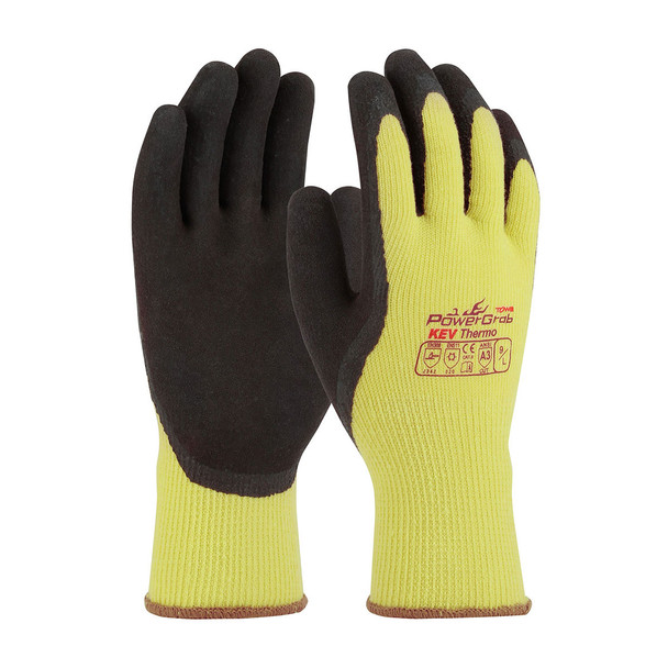 PIP Box of 72 Pair A3 Cut Level Hi Vis Yellow PowerGrab Kevlar Seamless Gloves 09-K1350