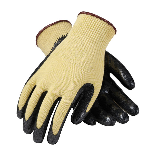 PIP Box of 72 Pair A2 Cut Level Hi Vis Yellow Kevlar Seamless Gloves Smooth Grip 09-K1400 Top