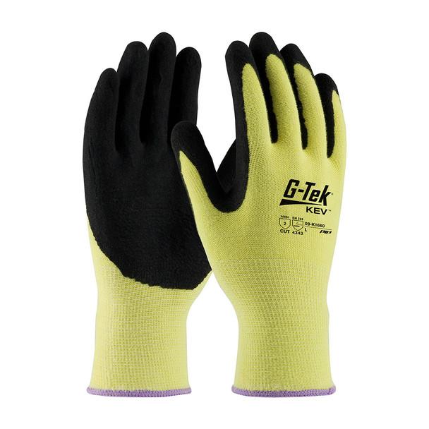 PIP Box of 72 Pair A2 Hi Vis Yellow G-Tek Kevlar Nitrile Grip Safety Gloves 09-K1660