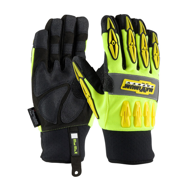 PIP Case of 72 Pair Hi Vis Yellow Maximum Safety Mad Max Thermo Work Gloves 120-4070 Pair