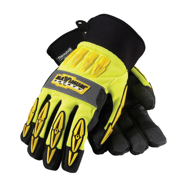 PIP Case of 72 Pair Hi Vis Yellow Maximum Safety Mad Max Thermo Work Gloves 120-4070 Top