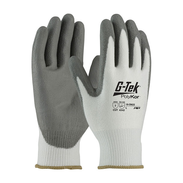 PIP Case of 72 Pair A2 Cut Level Seamless Knit PolyKor Polyurethane Grip Gloves 16-D622