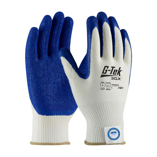 PIP Case of 72 Pair A4 Cut Level G-Tek 3GX Latex Crinkle Grip Safety Gloves 19-D313