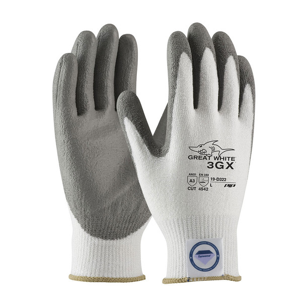 PIP Case of 72 Pair A3 Cut Level Seamless Knit White  Dyneema Work Gloves 19-D322