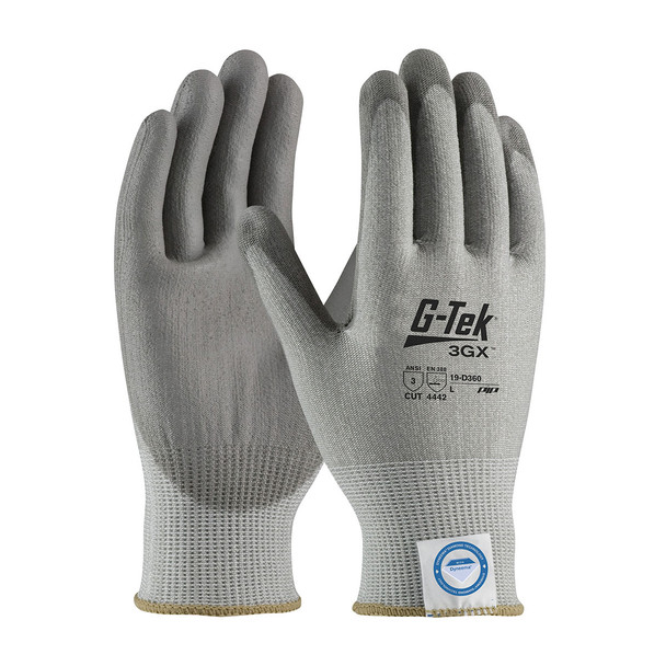 PIP Case of 72 Pair A3 Cut Level G-TEK Gray Smooth Grip Work Gloves 19-D360