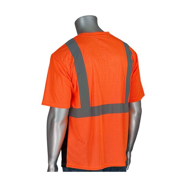 PIP Class 2 Hi Vis Short Sleeve T-Shirt Black Bottom 312-1250B Orange Back