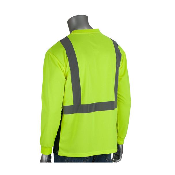 PIP Class 2 Hi Vis Long Sleeve T-Shirt Black Bottom 312-1350B Yellow Back