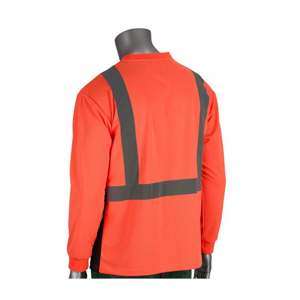 PIP Class 2 Hi Vis Long Sleeve T-Shirt Black Bottom 312-1350B Orange Back