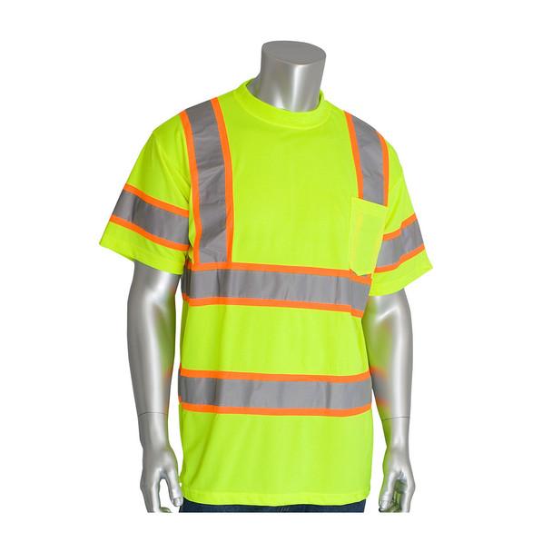 PIP Class 3 Hi Vis Short Sleeve T-Shirt Two Tone Tape 313-CNTSP Yellow