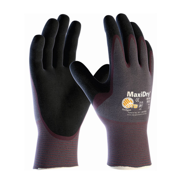 PIP Case of 72 Pair MaxiDry Ultra Lightweight Nitrile Safety Gloves 56-424