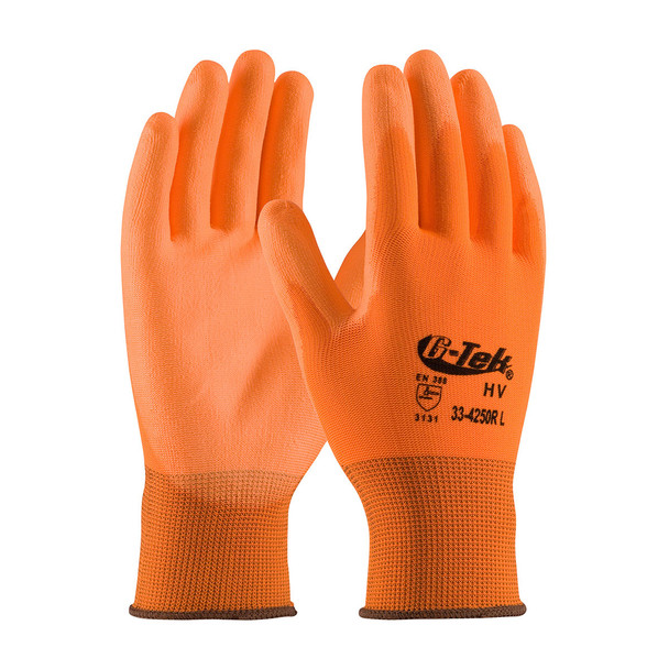 PIP Box of 300 Pair A1 Cut Level G-Tek Hi-Vis Polyester Gloves 33-425OR