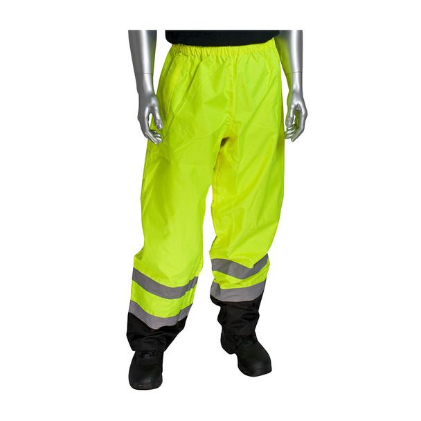 PIP Class E Hi Vis Black Trim Pants 318-1757 Yellow In Use