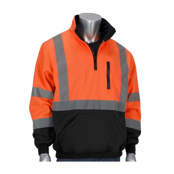 PIP Class 3 Pullover Sweatshirt with Black Bottom 323-1330B Orange