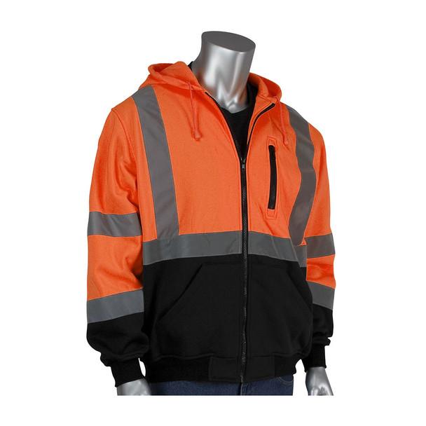 PIP Class 3 Hi Vis Full Zip Hooded Sweatshirt with Black Bottom 323-1370B Orange Front