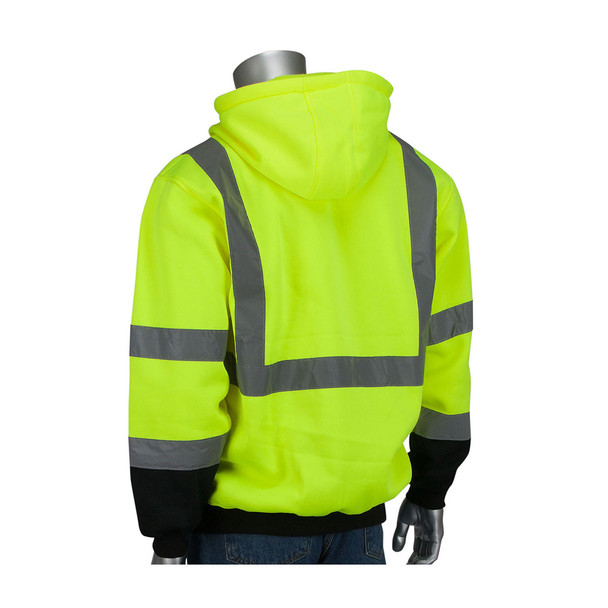 PIP Class 3 Hi Vis Full Zip Hooded Sweatshirt with Black Bottom 323-1370B Yellow Back