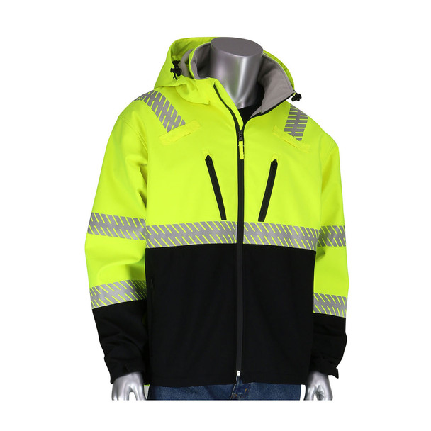 PIP Class 3 Hi Vis Lime Yellow Softshell Fleece Lined Jacket 333-1550 with Hood