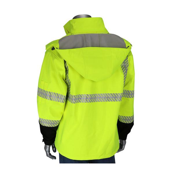 PIP Class 3 Hi Vis Lime Yellow Softshell Fleece Lined Jacket 333-1550 Back