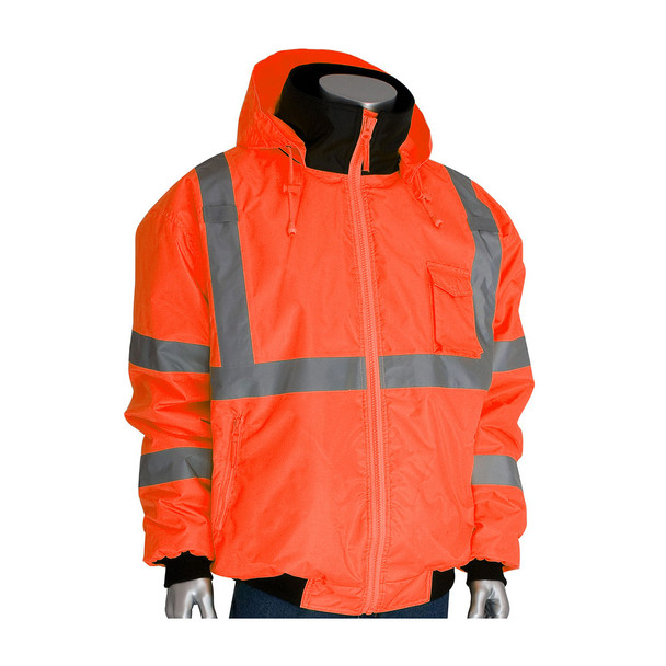 PIP Class 3 Hi Vis 2-in-1 Bomber Jacket 333-1762 Orange Hood