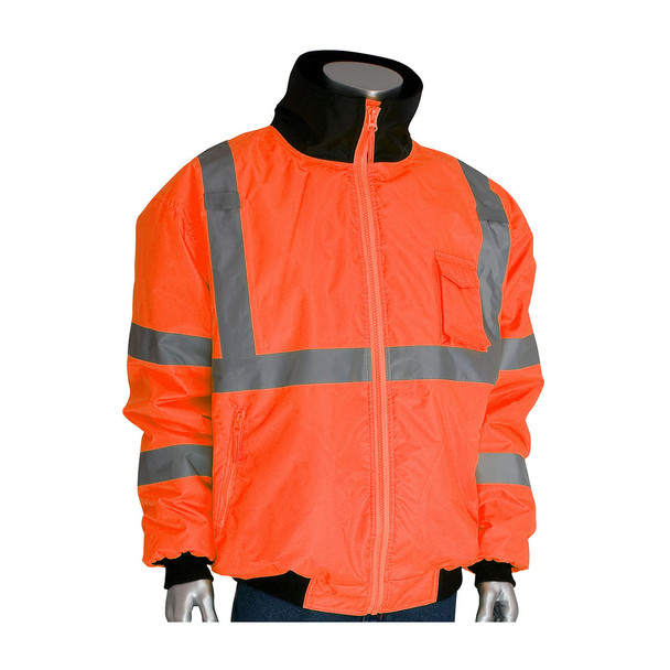 PIP Class 3 Hi Vis 2-in-1 Bomber Jacket 333-1762 Orange Collar Neck