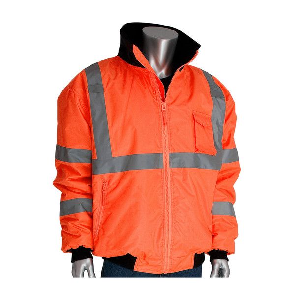 PIP Class 3 Hi Vis 2-in-1 Bomber Jacket 333-1762 Orange Collar