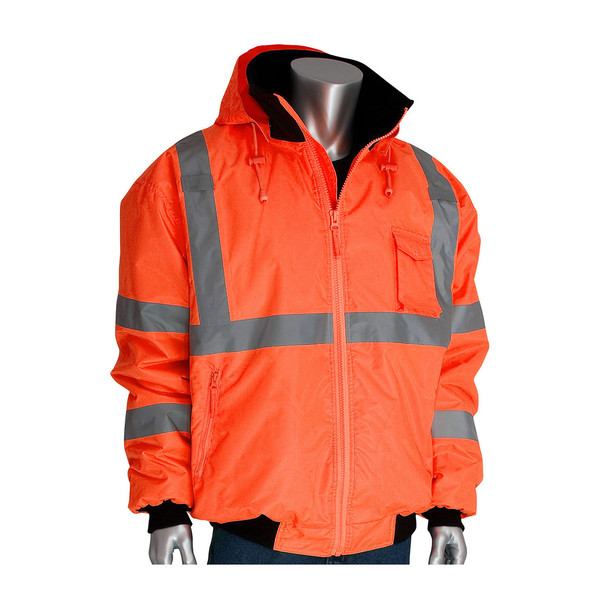 PIP Class 3 Hi Vis 2-in-1 Bomber Jacket 333-1762 Orange Collar and Hood