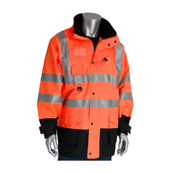 PIP Class 3 Hi Vis 7-in-1 Coat 343-1756 Orange Coat