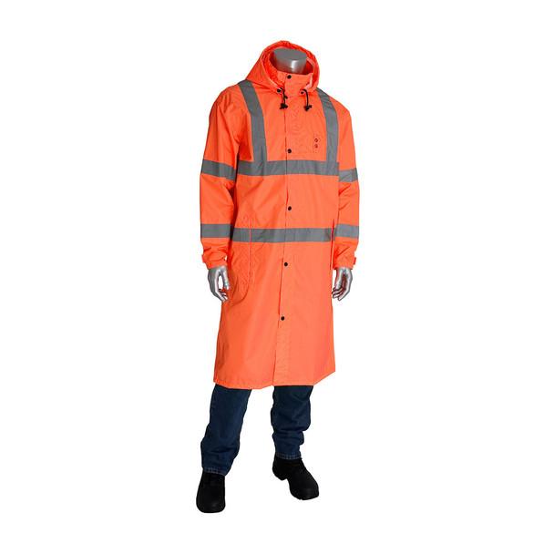 PIP Hi Vis Class 3 Raincoat 353-1048 Orange Buttoned