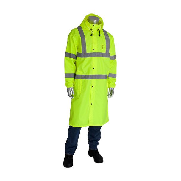 PIP Hi Vis Class 3 Raincoat 353-1048 Yellow Buttoned