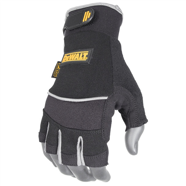 DeWALT Box of 12 Technician Fingerless Work Gloves Synthetic Leather DPG230 Top