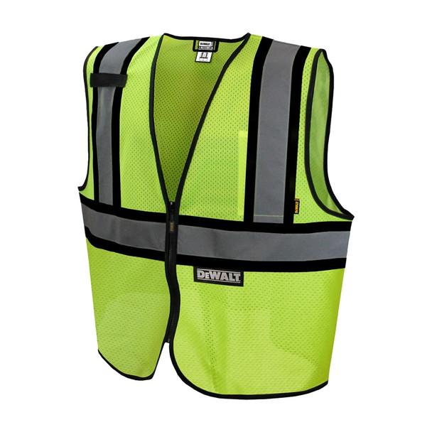 DeWALT Class 2 Hi Vis Lime Two Tone Mesh Vest DSV221 Front