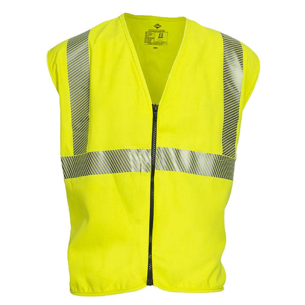 NSA FR Class 2 Hi Vis Yellow Made in USA Safety Vest with Zipper Front V00TD2Z