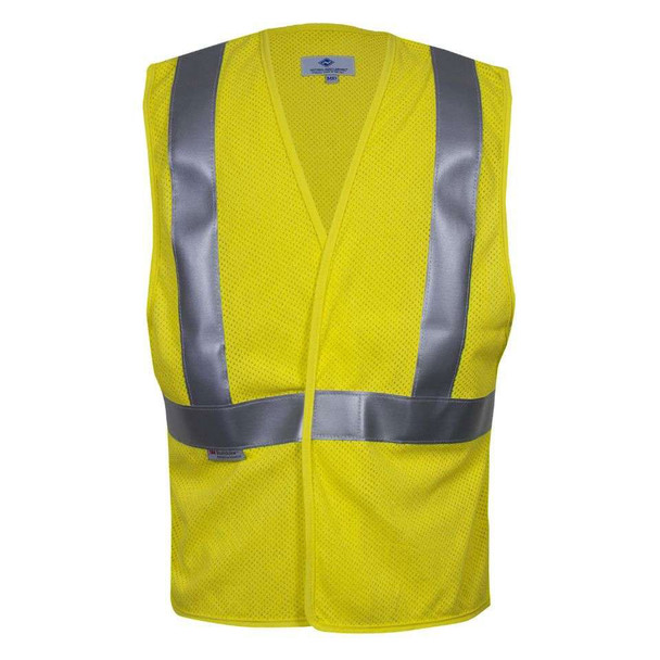 NSA FR Class 2 Hi Vis Yellow Mesh Made in USA Road Vest VNT99703 Front
