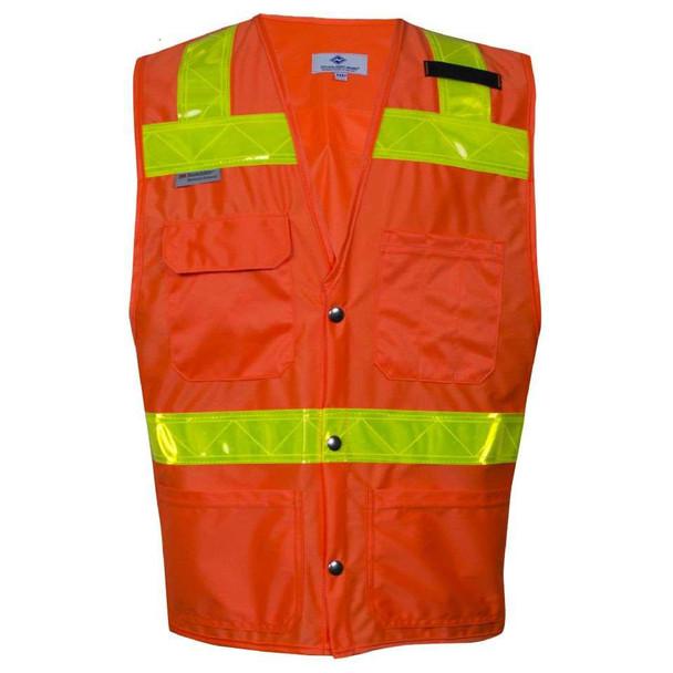 NSA Class 2 Hi Vis Orange Safety Vest with 4 Pockets VNT8043 Front