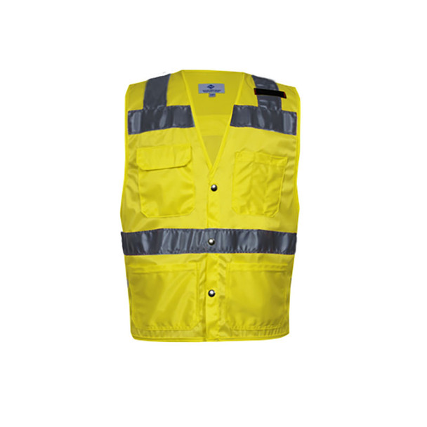 NSA Class 2 Hi Vis Yellow Made in USA Safety Vest with 4 Pockets VNT8083
