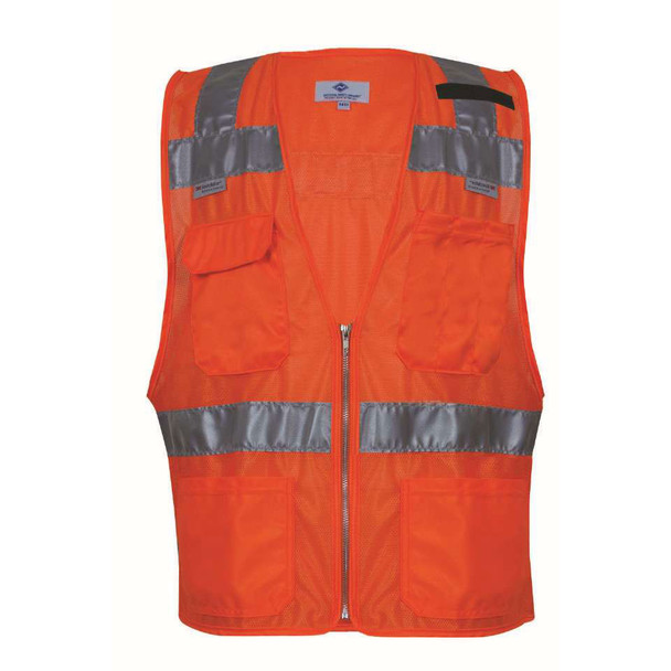 NSA Class 2 Hi Vis Orange Mesh Made in USA Traffic Safety Vest with Zipper Front VNT8149 Front