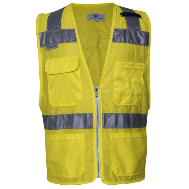 NSA Class 2 Hi Vis Yellow Mesh Made in USA Traffic Safety Vest with Zipper Front VNT8150 Front