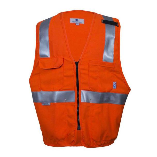 NSA FR Class 2 Hi Vis Orange Deluxe Made in USA Road Safety Vest VNT99222 Front
